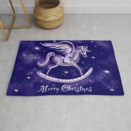 Merry Christmas Starry Night Pegasus Rocking Horse Rug