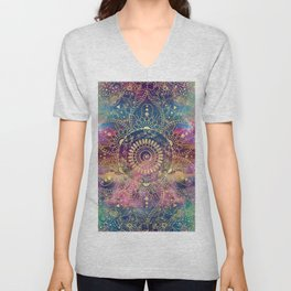 Gold watercolor and nebula mandala Unisex V-Neck