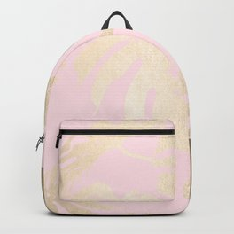Simply Tropical Palm Leaves White Gold Sands on Flamingo Pink Backpack
