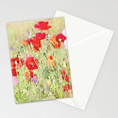 Percolated Poppies in Field Botanical Impressionist Abstract Landscape Stationery Cards