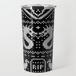 Ugly Christmas Sweater Pattern (White) Travel Mug