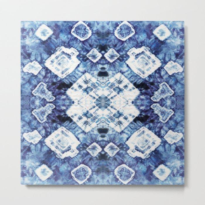 Blue Silk Tie-Dye Metal Print