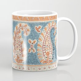 Italian woodcut endpaper blue and orange Coffee Mug