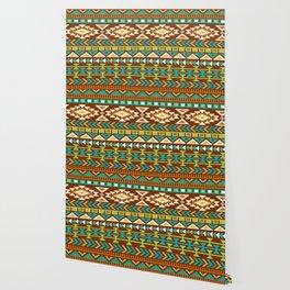 Native Aztec Brown Tribal Pattern Wallpaper