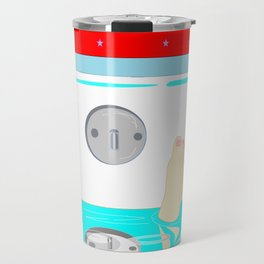 Soaking in the Tub with Red Wallpaper Travel Mug