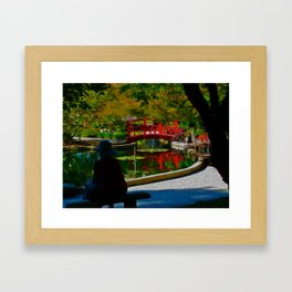 Red Bridge Reflections Framed Art Print