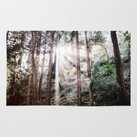 big sur Area & Throw Rugs featuring Big Sur Forest Sunbeams by Eastlyn Bright