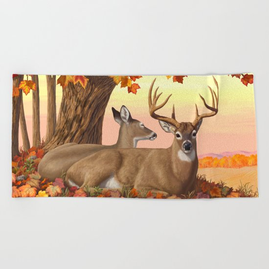Hilltop Retreat Whitetail Deer Painting Beach Towel