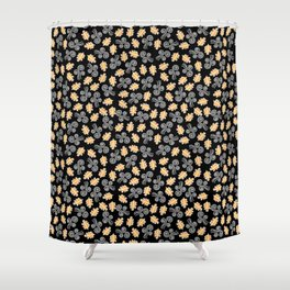 Gusts and Leaves Pattern (Black) Shower Curtain