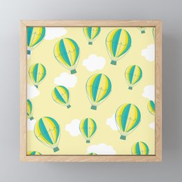 Hot air balloons and clouds - yellow Framed Mini Art Print