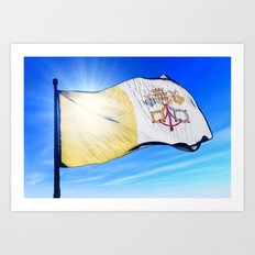 Vatican City flag waving on the wind Art Print