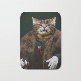 Arrogant sophisticated dressed cat boss looking with contempt Bath Mat