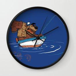 Bear Fishing Wall Clock