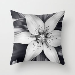 Black and White Lily Flower Photography, Grey Floral Art, Lillies Photo, Grey Lilly Nature Print Throw Pillow