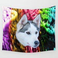husky Wall Tapestries featuring follow the husky trails by donphil