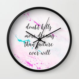 Hot Pink and Teal Inspirational Quote Acrylic Painting with Calligraphy Wall Clock