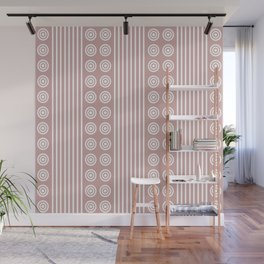 Geometric Stripes and Circles - White on Dusky Pink Wall Mural