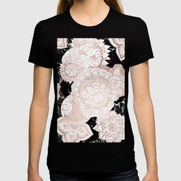 Modern rose gold floral mandala chic marble T-shirt