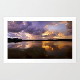 Panoramic. Sunset at the lake after the storm. End of the summer. Art Print