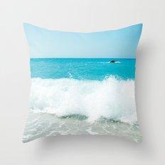 Minimal turquoise ionian wave - Porto Katsiki beach Throw Pillow
