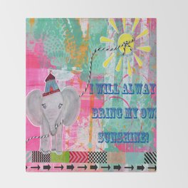 "Happy Little Elephant ""I will always bring my own sunshine"" Throw Blanket"