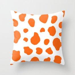 Cow Print Background Orange Color Throw Pillow