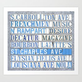 New Orleans Street Names Tile Art Word Typography Letters French Quarter Uptown Marigny Art Print