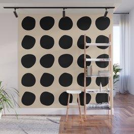 Irregular Polka Dots black and cream Wall Mural