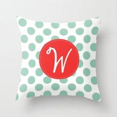 Monogram Initial W Polka Dot Throw Pillow