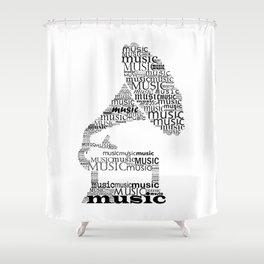 Typographic gramophone Shower Curtain