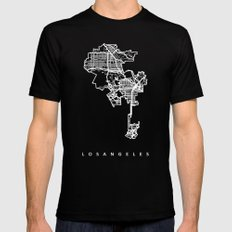 LOS ANGELES Mens Fitted Tee Black LARGE