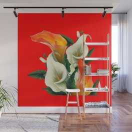 RED & WHITE-ORANGE CALLA LILIES GREY-GOLDEN GARDEN Wall Mural