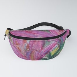 Pink Lilies in Oil Pastel Fanny Pack