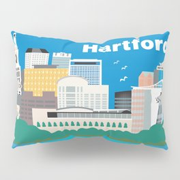 Hartford, Connecticut - Skyline Illustration by Loose Petals Pillow Sham