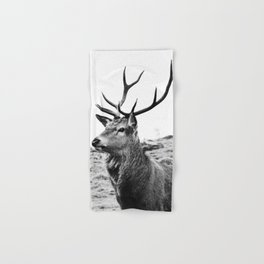 The Stag on the hill - b/w Hand & Bath Towel