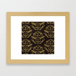 Fox Damask Framed Art Print
