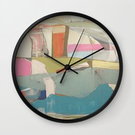 """""""tidal pool"""" abstract art in turquoise, cream, white, orange and pink by Wall Clock"""