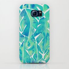 Split Leaf Philodendron – Turquoise Galaxy S7 Slim Case
