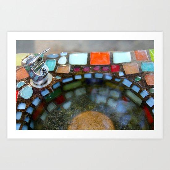 Mosiac Water Fountain Art Print