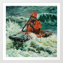 Open Water Kayaking Art Print