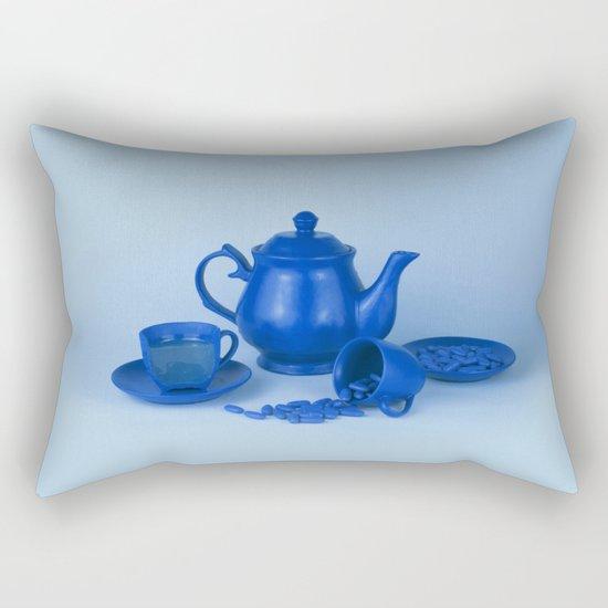 Blue tea party madness - still life Rectangular Pillow