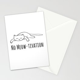 No Meow-tivation Stationery Cards