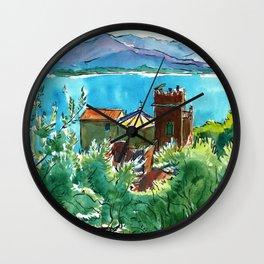 View of the sea and Monastery of Santa Croce, Liguria Wall Clock