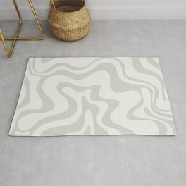 Liquid Swirl Abstract Pattern in Pale Stone and Light Silver Sage Gray Rug