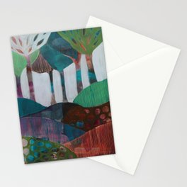 Day 1 In The Woods, Contemporary Abstract Landscape Stationery Cards