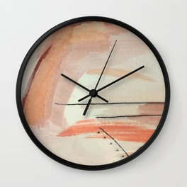 Aly [3]: minimal | pinks | white | black | mixed media | abstract | ink | watercolor | wall art Wall Clock