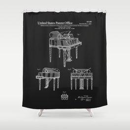 Piano Patent - Black Shower Curtain