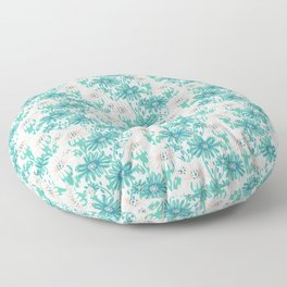 Trendy Red Anemone Geometric Blue Ocean Aqua Floor Pillow