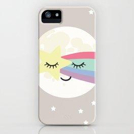 Moon art print, shooting star art print, girls wall art, grey nursery, kids wall art, rainbow art iPhone Case