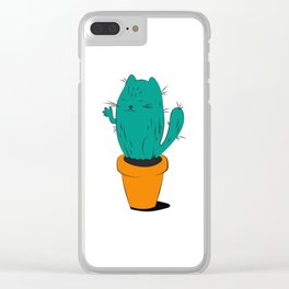 Cactus Cat Clear iPhone Case